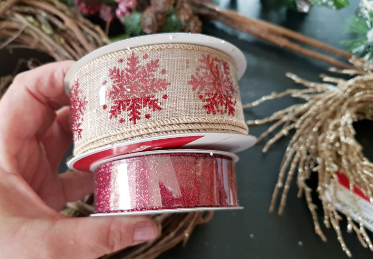 Christmas Wreath craft ribbon and supplies for decorating Christmas decorations