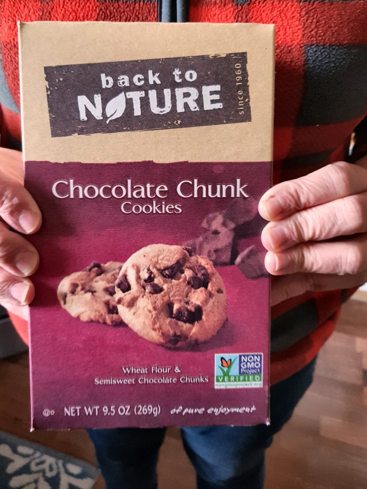 Back to Nature-Holding a box of back to nature chocolate chunk cookies, cookies review DearCreatives.com
