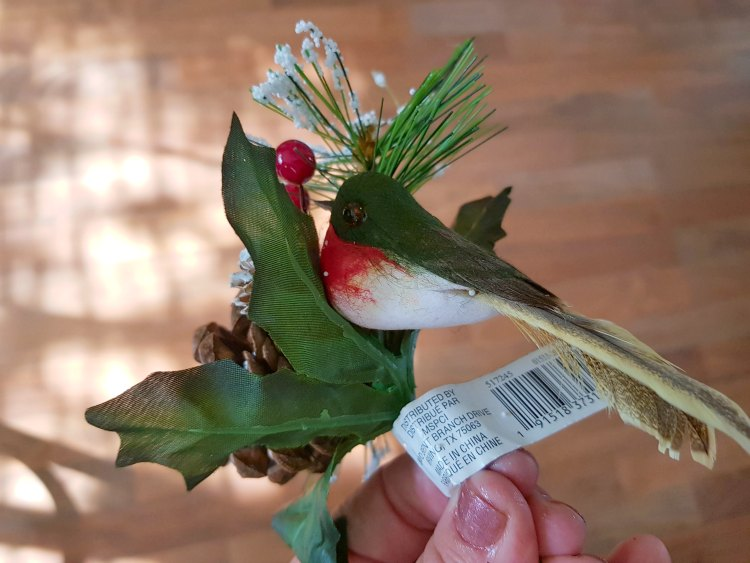 floral spray with pine cone, snow, and bird for holiday Christmas wreath