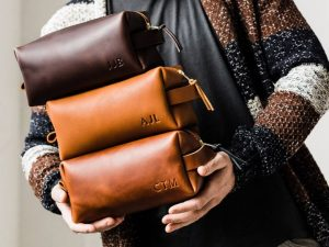 leather toiletrees bag for men