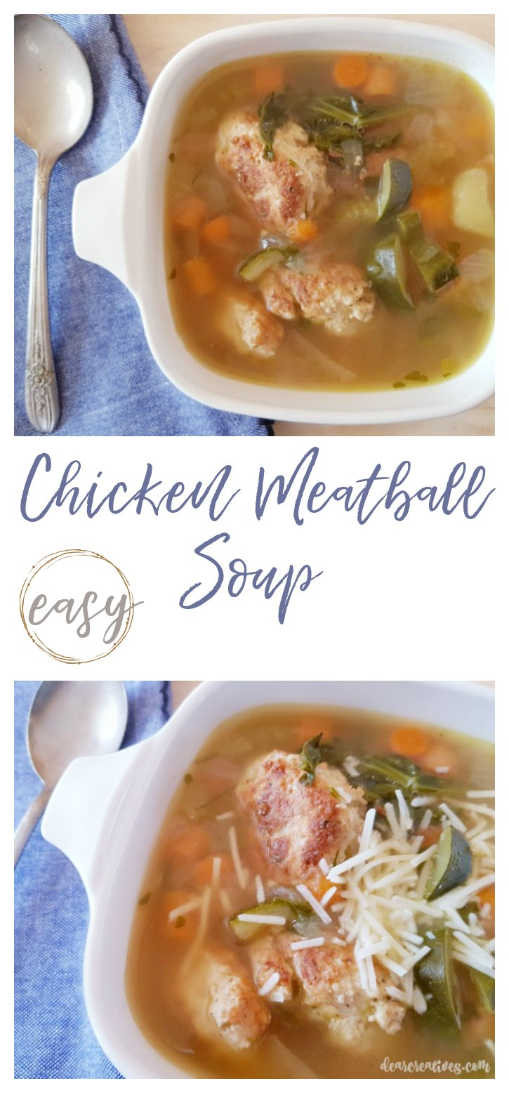 Easy Chicken Meatball Soup 1 pot, and done in 1 hour. #chickenmeatballsoup #souprecipes #soup See how easy at DearCreatives.com
