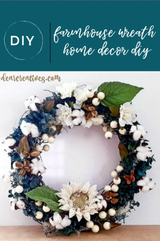 Farmhouse wreath DIY #farmhouse #wreaths #homedecordiy DearCreatives.com