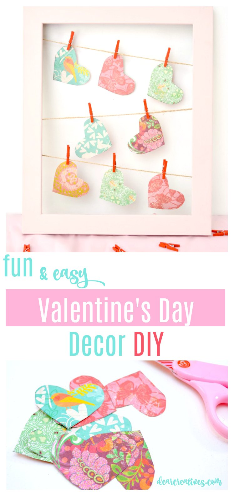 Valentine 39 s day clothesline heart frame decor diy craft for Home decorations for valentine s day