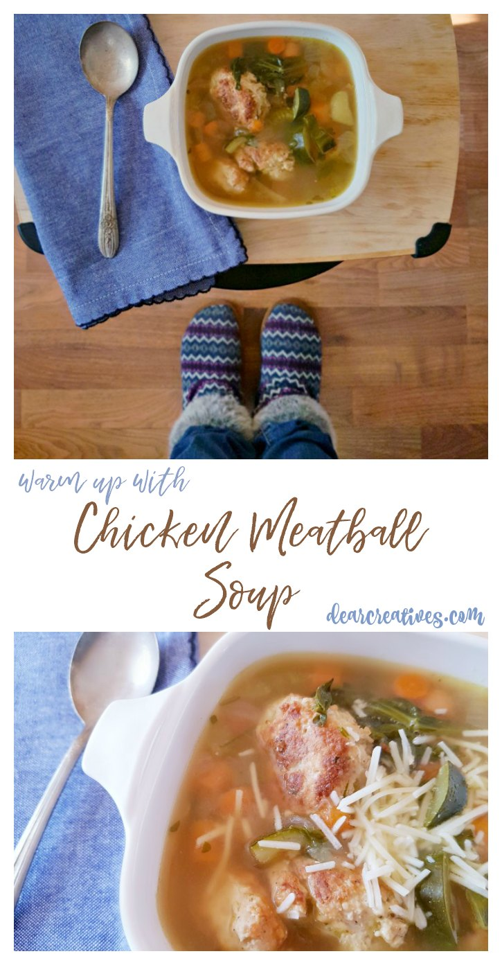 Soup time! #soup #chickenmeatballsoup Chicken meatball soup recipe at DearCreatives.com