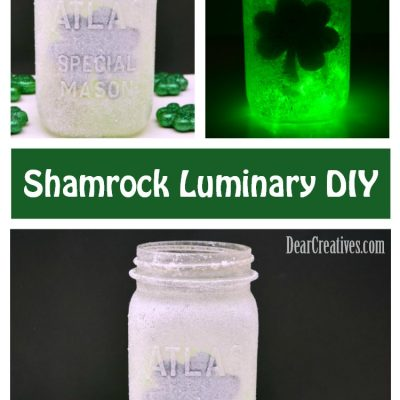 Frosted Luminary DIY with Free Clover Template for St. Patrick's Day