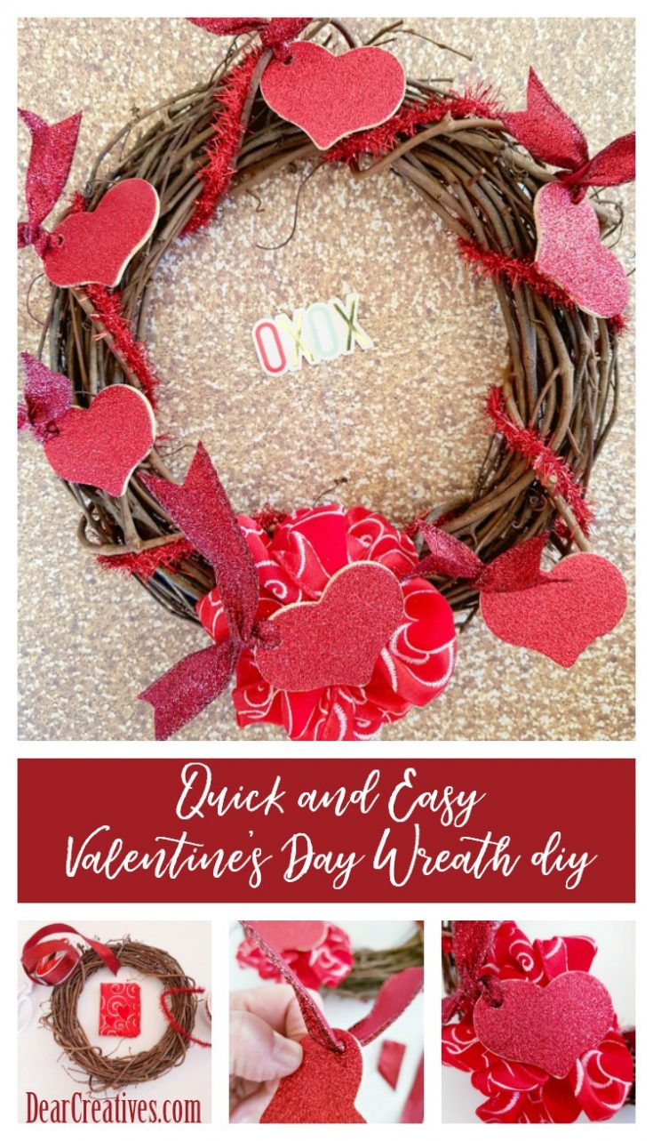 Valentine's Day Wreath With Glittered Hearts