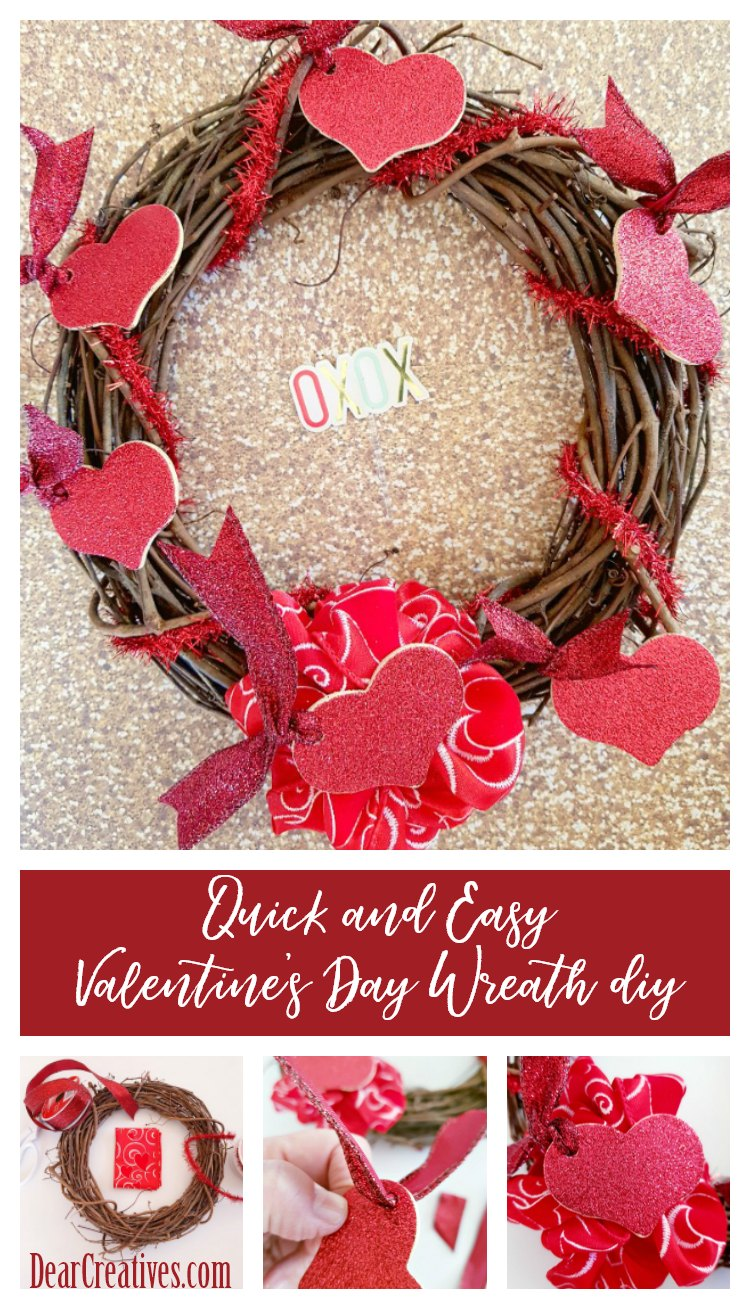 Quick and easy Valentine's Day Wreath DIY DearCreatives.com #wreath #diy #ValentinesDay