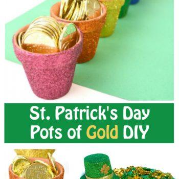 St. Patrick's Day Crafts Mini Rainbow Glitter Pots of Gold DIY