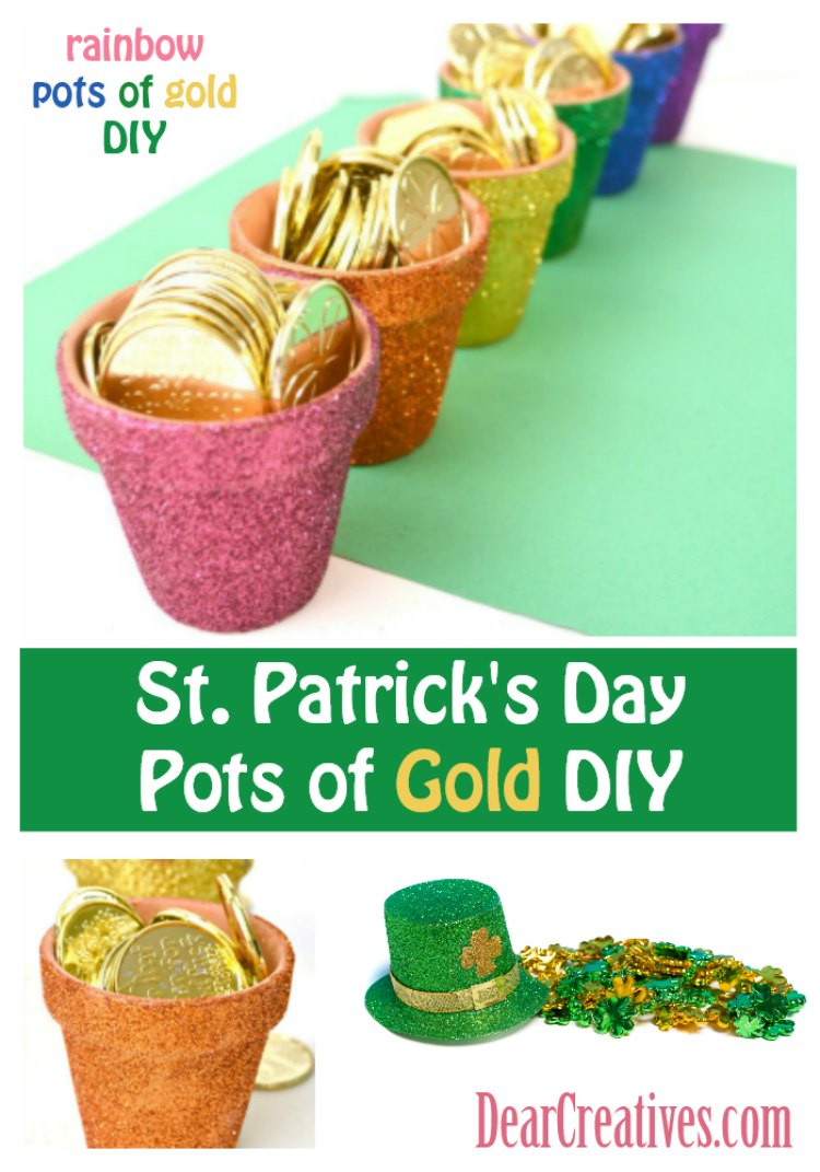 St. Patrick's Day Crafts Mini Rainbow Glitter Pots of Gold DIY