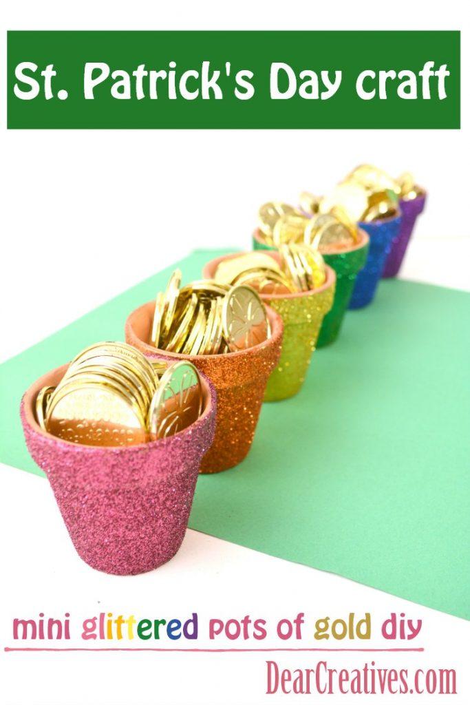 St. Patrick's Day Crafts Glittered Rainbow Pots #stpatricksday #crafts #glittercrafts DearCreatives.com