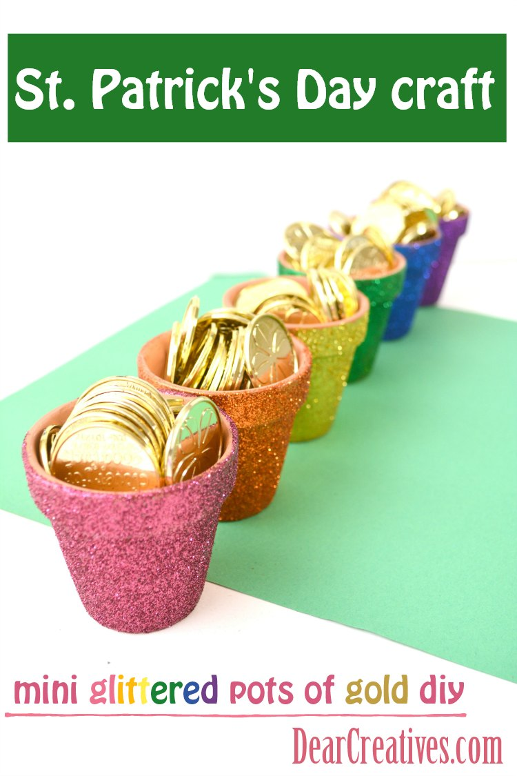 St. Patrick's Day Crafts Glittered Rainbow Pots #stpatricksday #crafts #glittercrafts DearCreatives.com