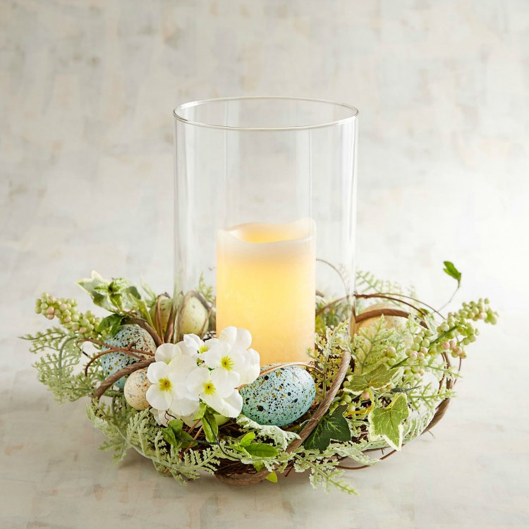 hurricane candle holder for spring Easter - centerpiece table top decor
