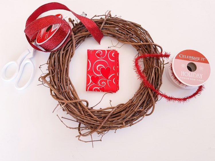 supplies for decorating a wreath for Valentine's Day DearCreatives.com