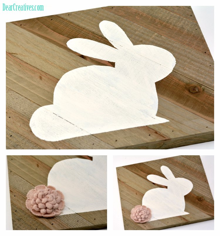Bunny Craft DIY home decor idea that can be used for Easter or Spring. Grab tutorial and make this easy bunny DIY with free template. home Decor Diy DearCreatives.com