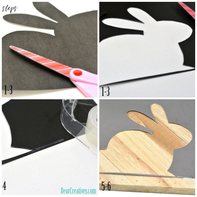 Bunny Craft tutorial for a painted wood bunny with template. Step by step how to make a painted bunny on wood. DearCreatives.com