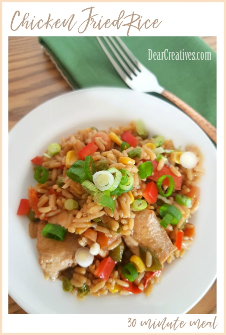 Chicken Fried Rice One pot meal made in 30 minutes it has fresh vegetables, chicken, rice. A kid friendly dinner. DearCreatives.com #chicken #dinner #rice, #onepot #30minutemeal #stirfry