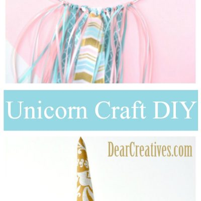 Do you love unicorn crafts This is one easy DIY that you can make for party decor or a kids room. Unicorn ribbons, ring, dream catcher. The steps are so easy to follow at DearCreatives.com