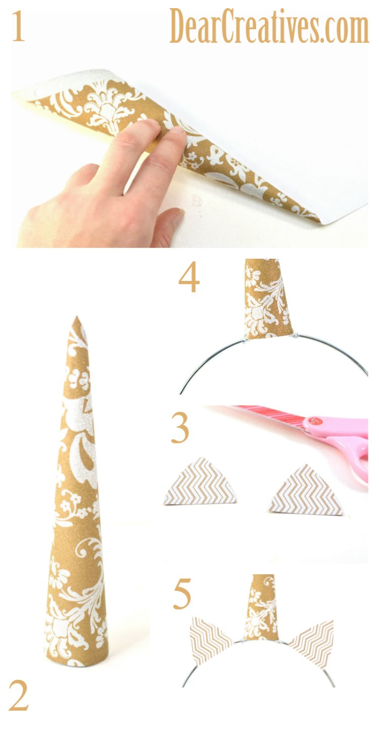 How to make a unicorn horn out of paper, and glue it and cut out ears to a ring. Full tutorial for the unicorn craft at DearCreatives.com