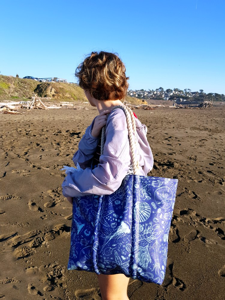 Over the shoulder eco friendly sail cloth bag made in Maine USA