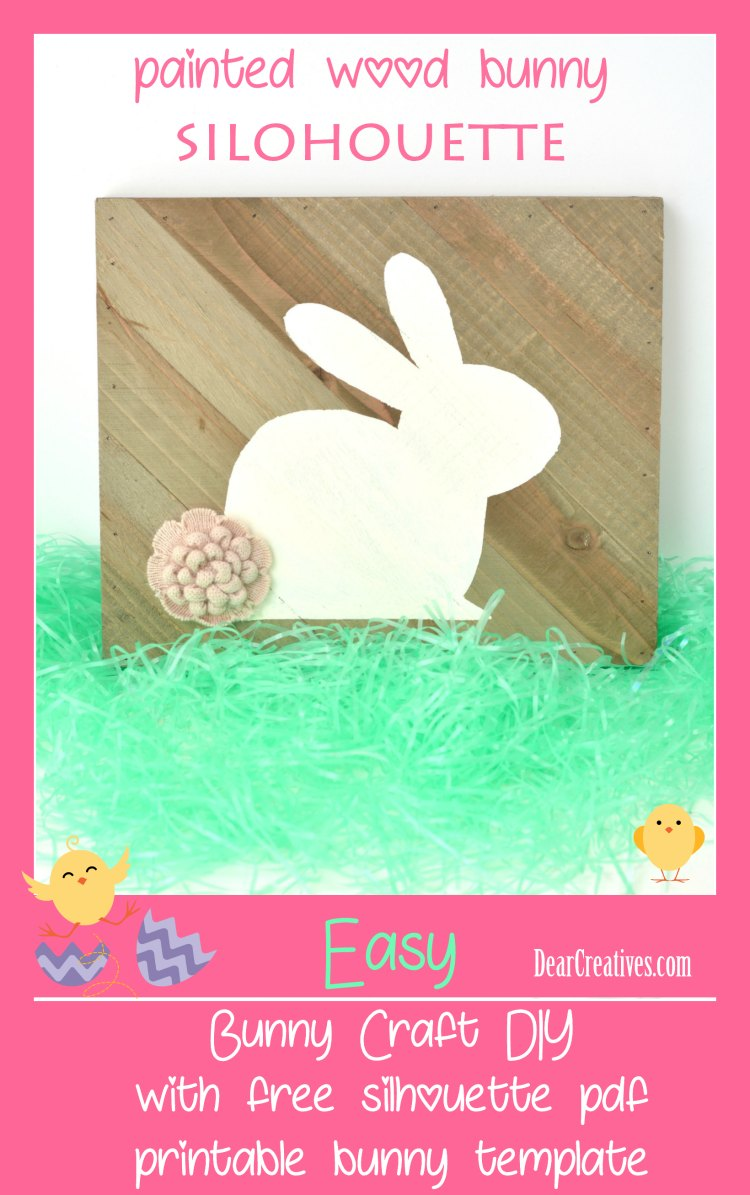 fun and easy painted bunny craft with bunny silhouette