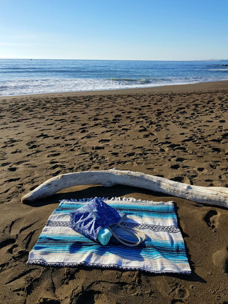 Sea Bag on a beach blanket by driftwood on the beach DearCreatives.com