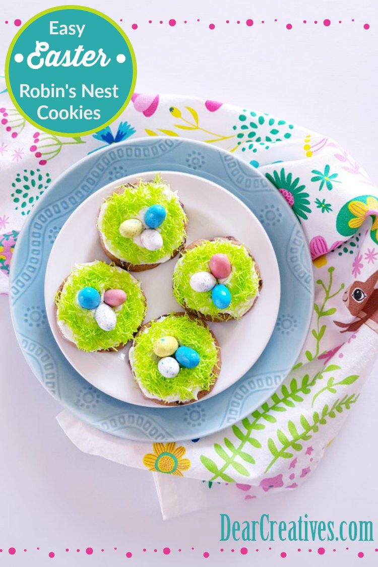 Are you looking for an easy Easter treat idea These Robin's Nest Cookies are so easy, and tasty. Kids love them, and can help making them. Grab the recipe at DearCreatives.com