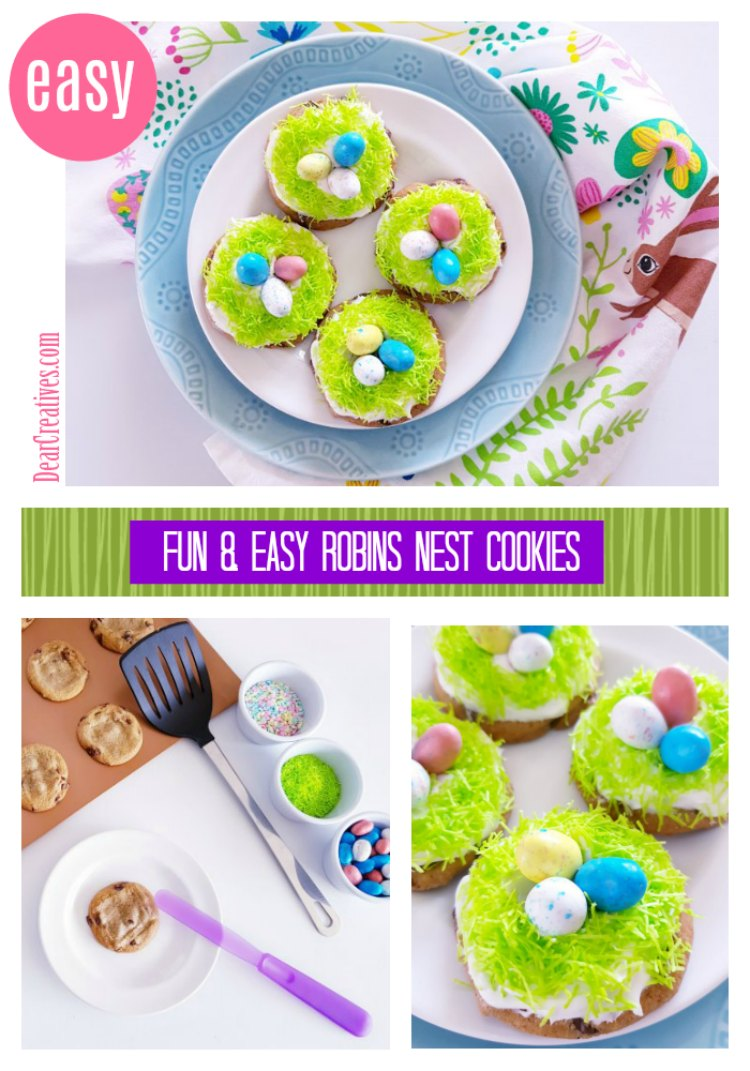 Do you love fun and easy Easter dessert recipes We have one that anyone can make. Robin's Nest Cookies. We share how easy it is to make this. This is a kids friendly recipe. See how DearCreatives.com #cookies #robinsnestcookies #eastercookiedecoratingideas #eastercookies