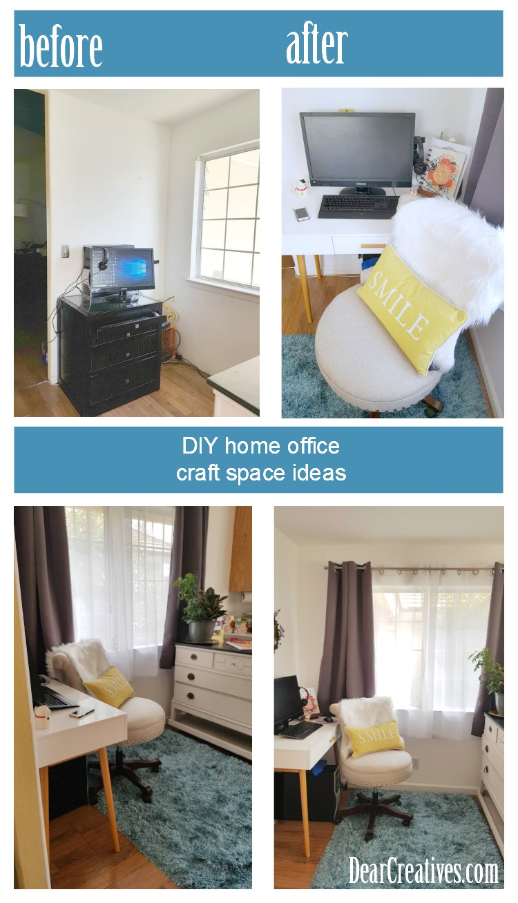 From ugly to beautiful. How you can easily improve your home office space, and not shown a lovely console with storage. Before-After See all the home office ideas at DearCreatives.com