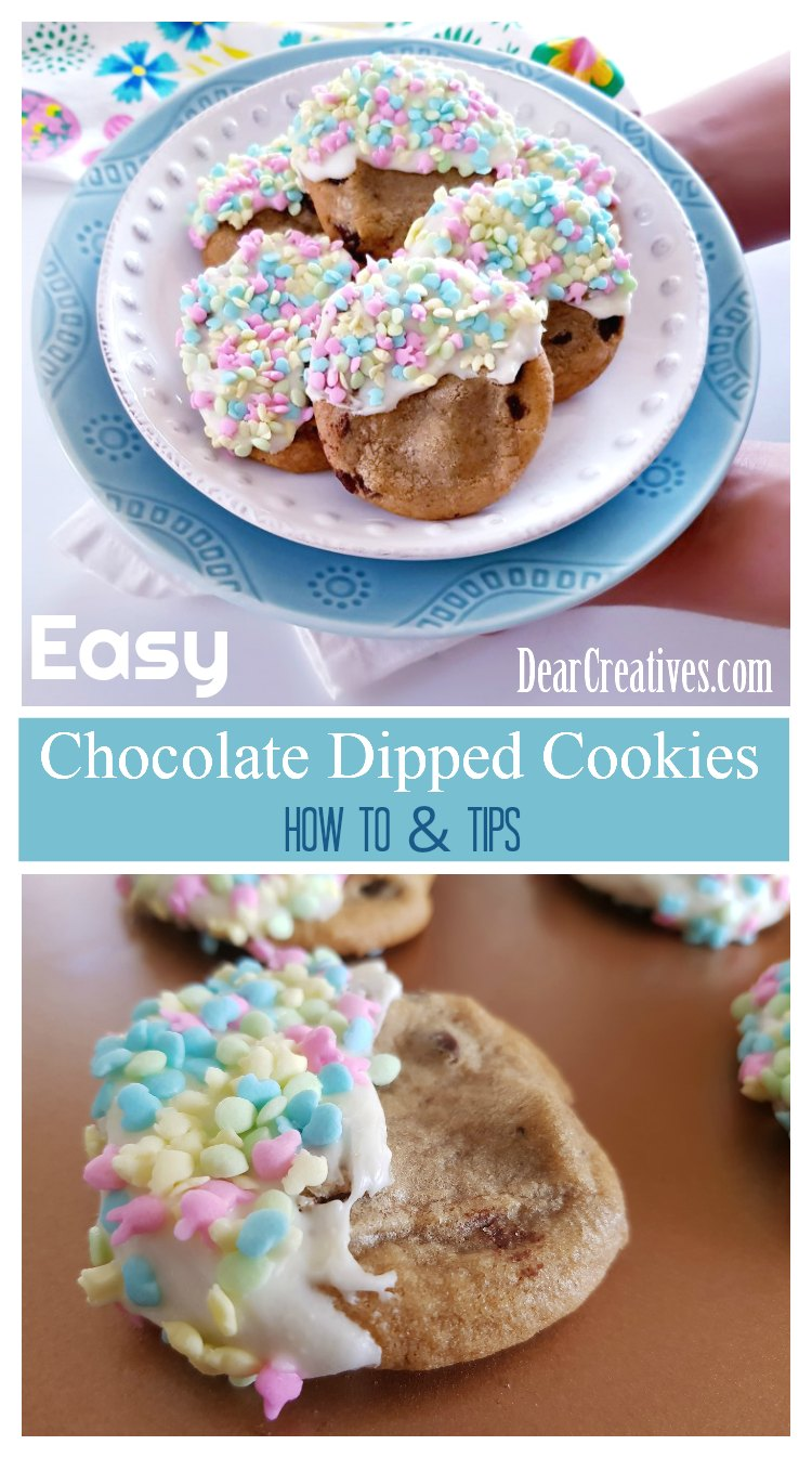 Have you ever wanted to try making chocolate dipped cookies This how to, and tips will make it so easy to make any seasonal holiday chocolate dipped cookies. See how, and grab treat recipes at DearCreatives.com
