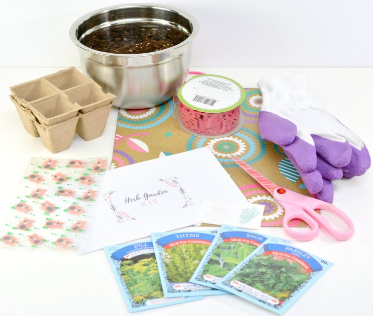 Herb Garden Kit you can make for a gift for Mother's Day, earth day, teachers gift idea