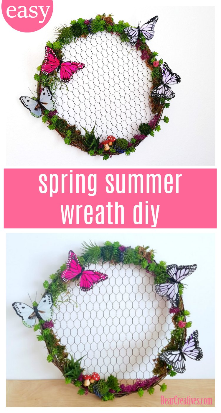 Looking for an easy spring or summer wreath to make This is an easy grapevine wreath to make See the succulent wreath DIY at DearCreatives.com #wreath #wreaths #springwreath #summerwreath #succulentwreath #DIY #crafts