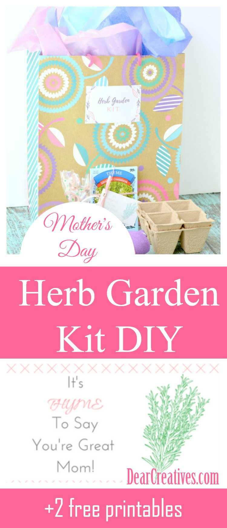 Mother's Day Gift DIY Herb Garden Kit DIY This is an easy to make Mother's Day gift idea. Plus you get 2 free printables to use. See this and more Mother's Day Ideas DearCreatives.com #mothersday #giftideas #herb #garden #diy #gardenkit #teachersgift #earthday
