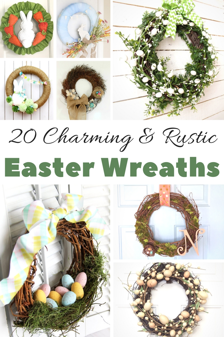 Spring Easter Wreath Ideas, and DIYs This is a roundup of pretty, rustic spring, and Easter wreath ideas plus their DIYs so you can creative your own for decorating your home for Easter. Are you ready to make an Easter wreath? Come by to grab the easy tutorials to make your own wreath. #wreaths #Easterwreaths #spring #springwreaths #wreathideas #wreathDIYs #DiYs #crafts