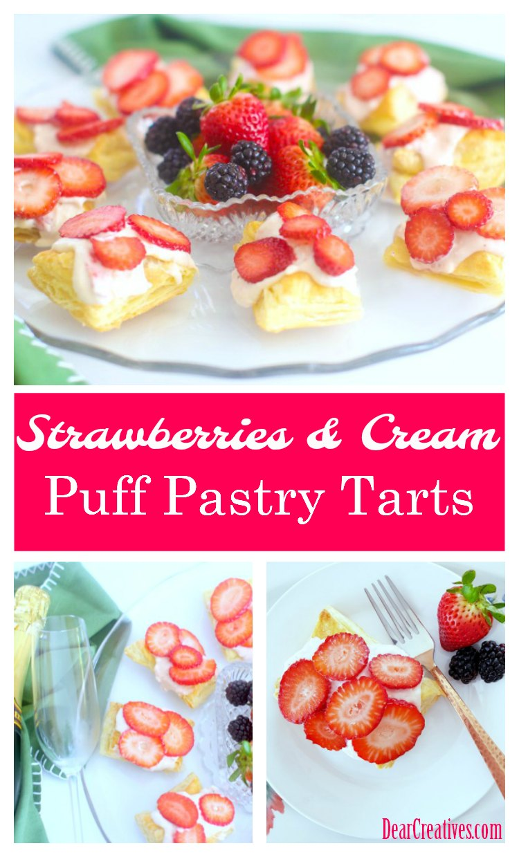 Strawberries and Cream Puff Pastry Tart Bites