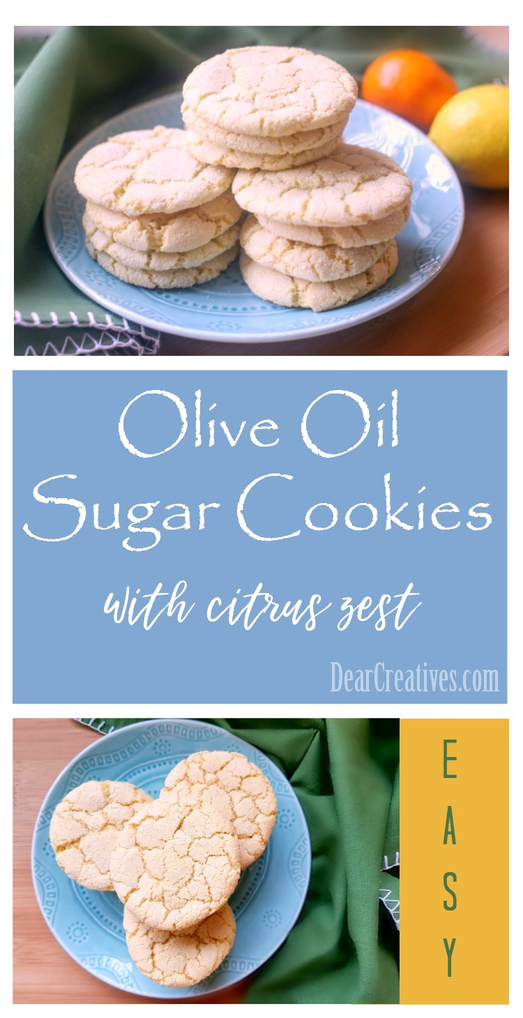 The Best Olive Oil Sugar Cookies | You'll love how easy this sugar cookie recipe made with olive oil is. The prettiest, crinkle sugar cookie with citrus zest. DearCreatives.com #flavoryourlife #sugarcookies #oliveoilsugarcookies #sponsored #momsmeet