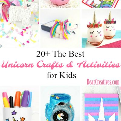 Unicorn Crafts and Activities For Kids. There are teen projects, and projects for parents too. These are fun, and easy unicorn craft ideas to captivate your kids, and keep them busy. See them all, plus more unicorn crafts at DearCreatives.com #unicorncrafts #unicorncraftideas #unicorncraftskids #crafts #summercraftideas #springcrafts #summercrafts #summer #unicorns #spring #kidscraft #kidsactivities