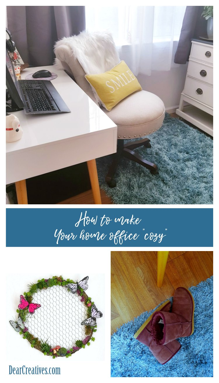 You've been seeing alot of talk about the word hygge. I'm sharing some easy ways to make your home office space cozy. See all these home office ideas and more. DearCreatives.com #homeoffice #office #officespaces #hygge #cozy