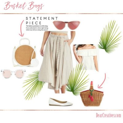 Basket purses, and basket bags are the newest statement piece in women's handbags to carry. See all these handbag ideas for spring, and summer. DearCreatives.com