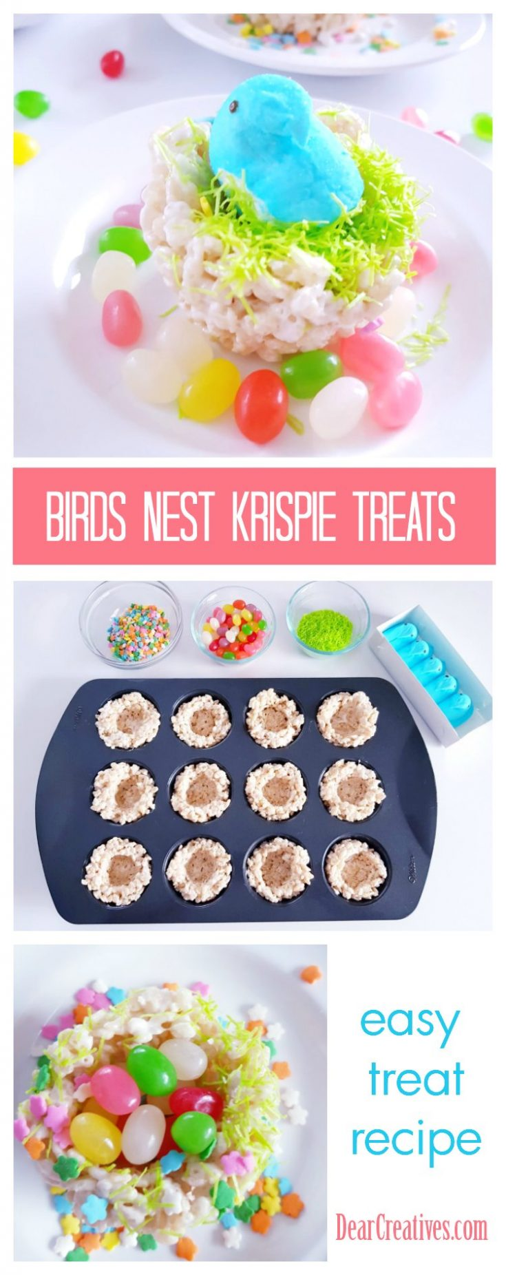 Easy to make birds nest Krispie treat cookies. This is a no-bake cereal cookie made with Krispie cereal,  melted marshmallows and candies. Shape your bird nest, let them dry and have the kids help you decorate them for your spring and Easter celebrations! Fun and easy! Can be made in advance for Easter. #krispietreats #birdsnestcookies #krispiebirdsnestcookies #birdsnestkrispietreats