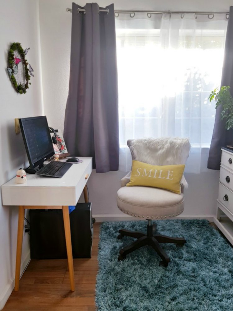 small modern home office space- office space for her. This is a dual purpose office - craft room workspace. See the before- after at DearCreatives.com