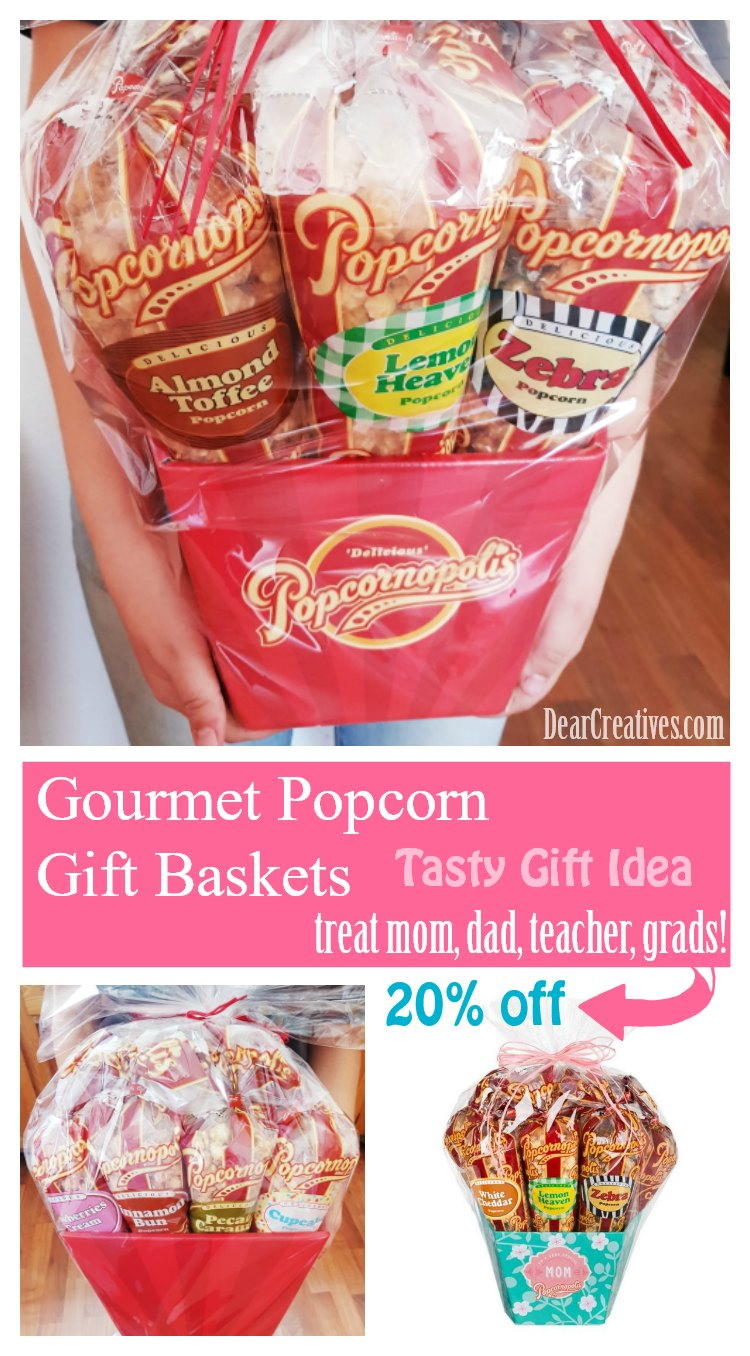 Looking for a unique gift idea Why not send a Gourmet Gift Basket. We are sharing a discount for this Gourmet Popcorn Gift Basket. DearCreatives.com