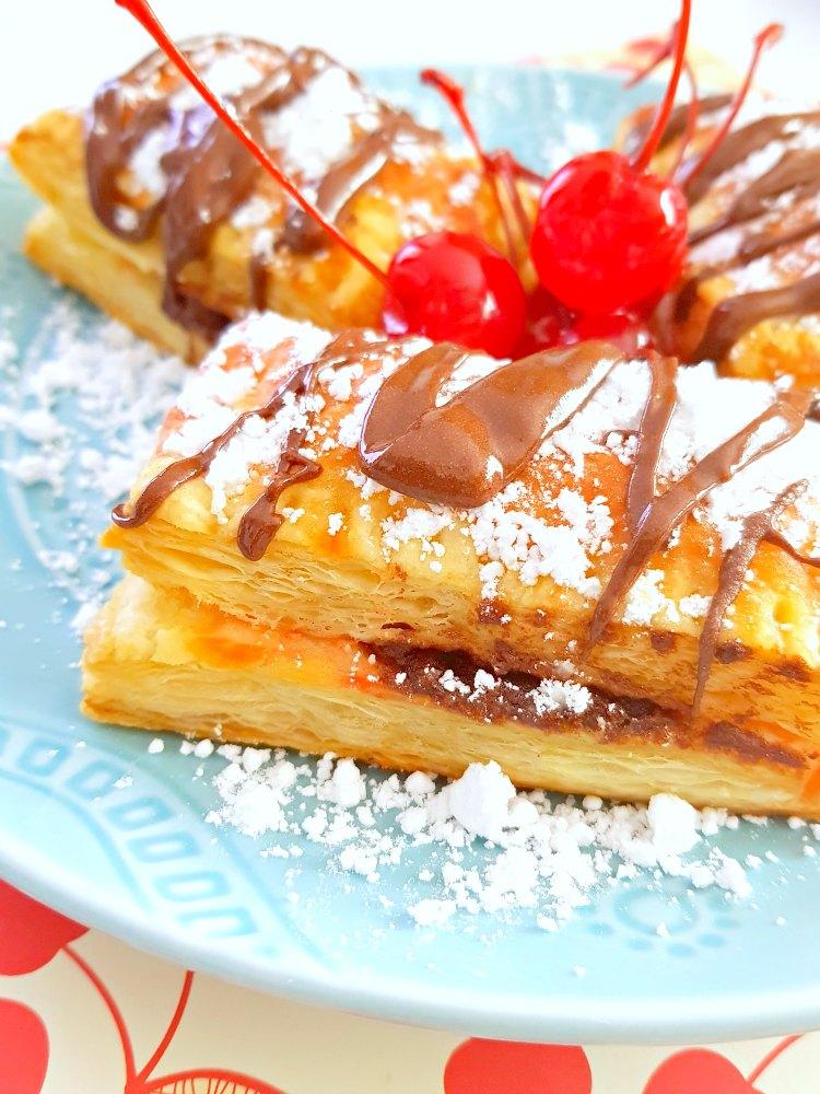 Cherry hazelnut puff pastry recipe for cherry tarts see full recipe at DearCreatives.com
