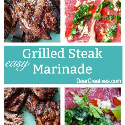 Grilled Steak Marinade - This is an easy to make marinade that makes the steak so flavorful, and juicy. Grab the recipe, and get grilling. Find this and more grilling recipes to barbecue at DearCreatives.com  #Grilled #Steak #Marinade #Recipe
