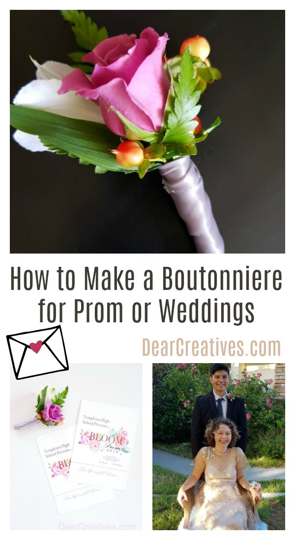 DIY Boutonniere- How to make a boutonniere for a prom or for a wedding. There are so many useful tips for making your own boutonnieres on this DIY. DearCreatives.com #diy #wedding #prom #boutonniere #boutonnieres #DIYboutonniere