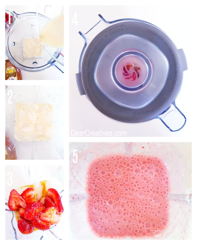 strawberries, organic honey, soy milk, ice, vanilla for a strawberry smoothie DearCreatives.com