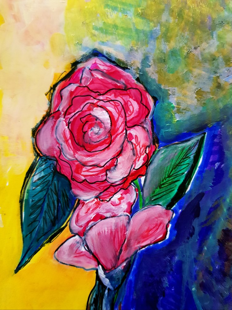 Roses with markers, and acrylic paints DearCreatives.com acrylic paints Do you want to get more creative See how to set up creative time. Tips for journals, art journals, and making time for art. DearCreatives.com #derwentacademy #IC #ad #journals #artjournals #art