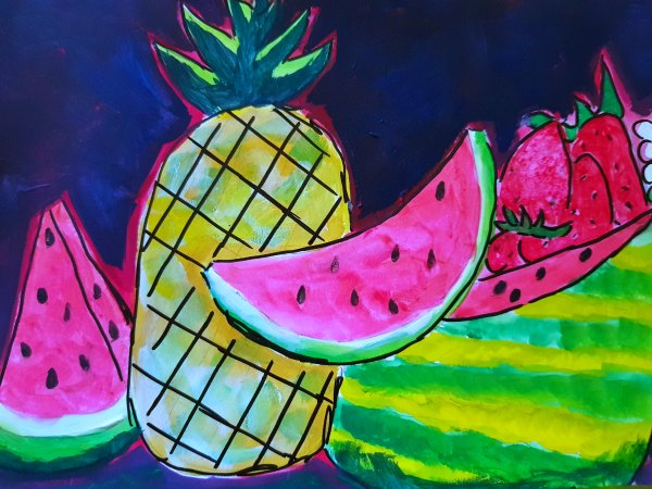 watermelon, pineapple, strawberries art journal creative time DearCreatives.com #derwentacademy #IC #ad #journals #artjournals #art