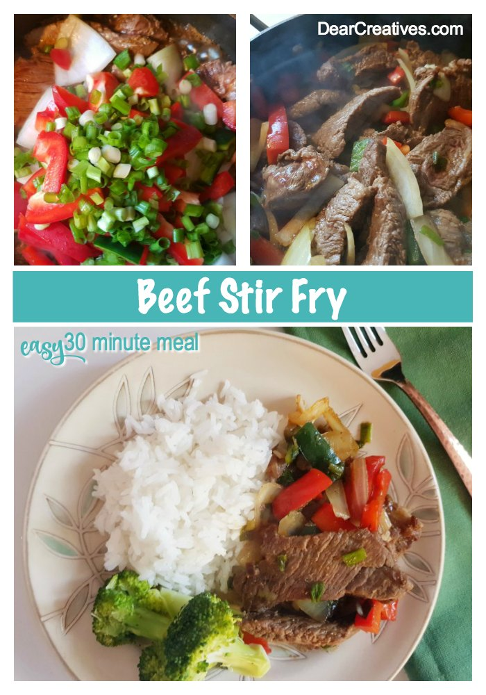 Beef Stir Fry - 30 minute meal that is deliciously easy! Grab the recipe at DearCreatives.com #beefstirfry #beefstirfryrecipe #beef #veggies #takeoutrecipes #easy #delicious #flavorful