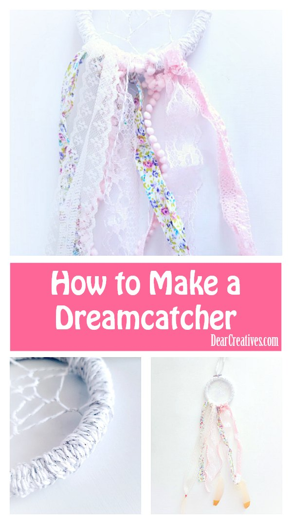 How to make a dreamcatcher. Have you ever wanted to make your own dreamcatcher? This diy will help you with steps, and supplies. This craft is easy enough to be a teen craft. DearCreatives.com #dreamcatcher #diy #howto #boho #bohodreamcatcher #crafts