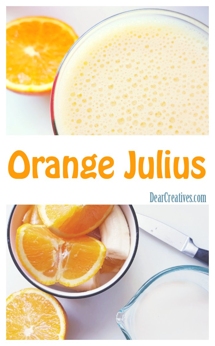 Orange Julius - An easy five ingredient fresh homemade Orange Julius recipe. Non dairy or dairy versions. See this orange smoothie recipe, and other must try smoothies at DearCreatives.com #orangejulius #orange #banana #nondairy #easy #fresh #healthy #homemade #recipe #blended #beverage #drinks